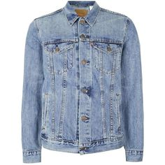 TOPMAN LEVI'S Light Blue Denim Trucker Jacket ($115) ❤ liked on Polyvore featuring men's fashion, men's clothing, men's outerwear, men's jackets, blue, mens denim jacket and mens blue jacket