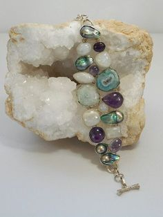 Moonstone Bracelet with Amethyst, Pearls, and Solar Quartz - Andrea Jaye Collection