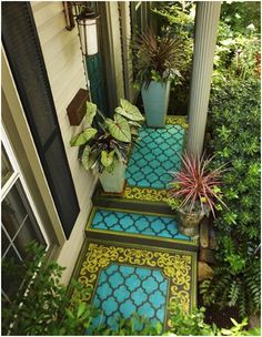 14 Amazing Painted Floors - DIY for Life --Outdoor--So Beautiful...