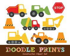 Digital Clip Art Printable - Construction Design - Trucks, Stop Signs, Cones, Garbage Truck, Bulldozer - Construction Clipart. $5.00, via Etsy.