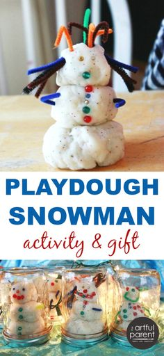 This snowman playdough activity doubles as a cute kids gift in the mason jar snow globe. Easy and fun to make; the gift inspires continued snowman building.
