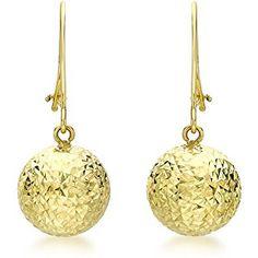 653187b07 Carissima Gold Women's 9 ct White Gold 10 mm Diamond Cut Ball Drop Earrings  Gold Diamond
