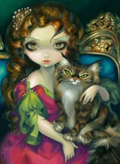 Princess with a Maine Coon Cat kitty queen fairy art print by Jasmine Becket-Griffith Jasmine Becket Griffith, Downtown Disney, Princesas Disney Dark, Chat Maine Coon, Goth Princess, Fantasy Princess, Indian Princess, Princess Cartoon, Kobold