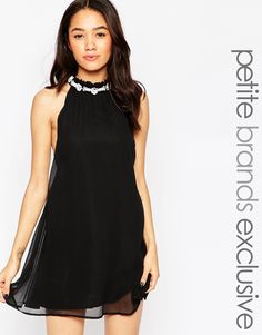 Image 1 of True Decadence Petite High Neck Swing Dress With Embellished Neck