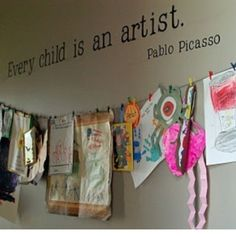 How to display your child's artwork with clothespins and a string. Simple!