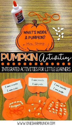 Pumpkin Life Cycle Activities FREE life cycle of a pumpkin activities, including pocket chart sentences and sequencing printable. Perfect for your pumpkin investigations! Plus, we love the adorable pumpkin crafts! More from my site Fall Pumpkin Craft Fall Preschool Activities, Preschool Learning, Kindergarten Activities, Pumpkin Preschool Crafts, October Preschool Crafts, Pre K Pumpkin Crafts, Sequencing Activities, Preschool Classroom, Pumpkin Seed Activities