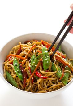20 Minute Vegetable Lo Mein is a super easy weeknight dinner that is loaded with veggies!   The entire family ...