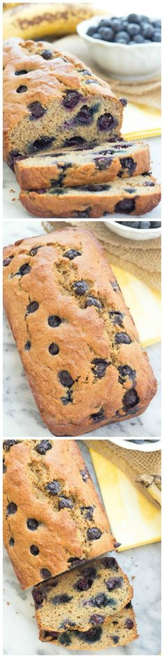 Our Favorite Healthy Blueberry Banana Bread recipe!! It's refined sugar free and whole wheat. No mixer and only 10 minutes prep!