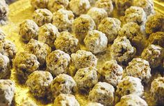 DATE NUT BALLS     Melt 2 sticks butter in large boiler.  Add 1 c. sugar.  Stir until dissolved.  Add 8oz chopped dates.  Boil for 10 minutes over low heat.  Take off heat and mix in 2c. Rice Krispies and 1c. chopped nuts.  Cool.  Shape into balls and roll in powdered sugar.