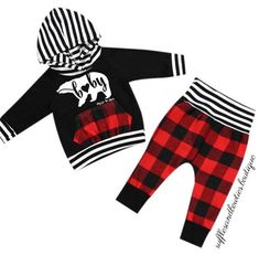 514f9592 Girls and Boys Baby Bear Buffalo Plaid Pants & Hoodie set First Christmas  Outfit