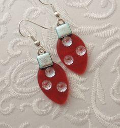 Christmas Ornament Earrings - Christmas Bulbs - Christmas Decorations - Dichroic Fused Glass - Christmas Jewelry - Christmas Earrings Decorate