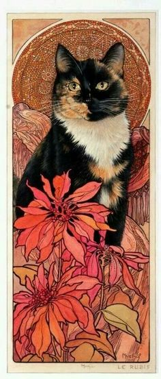 Arlequin sweet calico colored cat painting.