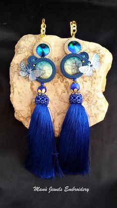 soutache earrings sea with tassel Soutache Earrings Handmade