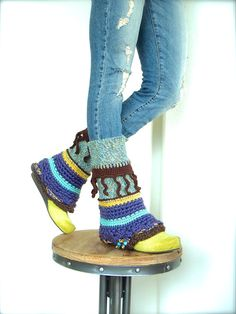 PURPLE PIXIE leg warmers Flared Boho Urban Leg Warmer by GPyoga