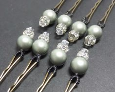 Decorative Bobby Pins Swarovsky Pearls Light Green by JJJCrafts, $22.00