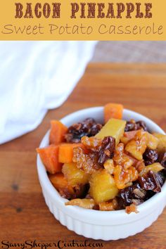 Smoky bacon pieces, walnuts, cherries, and pineapple bring out the natural flavors of sweet potatoes in this delicious recipe. Bacon Sweet Potato Casserole with Pineapple will be your new favorite sweet potato recipe and makes a great holiday side dish! Gluten Free Recipes, Healthy Recipes, Cooking Recipes, Clean Recipes, Veggie Recipes, Healthy Meals, Diet Recipes, Sweet Potato Casserole, Sweet Potato Recipes