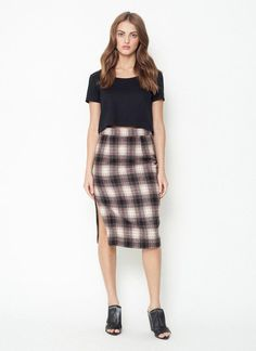 Margo Pencil Skirt. Plaid pencil skirt, center back invisible zipper closure, side seam tailored vent, fully lined.