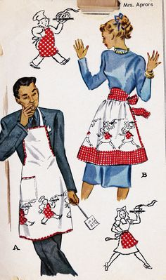 1940s Mr and Mrs Matching Aprons Vintage Sewing Pattern, McCall 1319 one size fits most. $18.00, via Etsy.