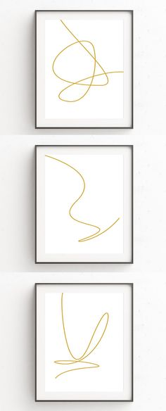 This collection of three minimalist art prints are made from single gold lines. Each of the three digital prints features a single line with unique curves, loops, and angles to create simple abstract line art perfect for a simple interior.