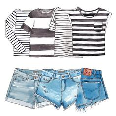 Good objects - Friday denim + stripes outfit #tgif #denim #stripes #goodobjects Watercolor illustration
