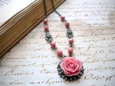 Pink Rose Vintage Necklace