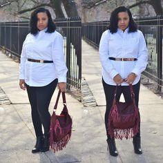 Blog update: Girl with curves versatile pieces that can be used to Make a statement. Men's Oxford Shirt @gap , Leggings Lola, Fringe Bag, Belt @boohoo , Booties @francosarto ✨www.love2bcouture.com ✨  #fashion #fashionable #fashionblog #fashionista #plussize #plussizefashion #newblogpost #lookbook #lookdodia #lookoftheday #lotd #style #stylenanda #styleblogger #fblogger #fashionblogger #blogger #bloggerstyle #stylish #moda #modafeminina #estilo #photooftheday #instastyle #igfashion