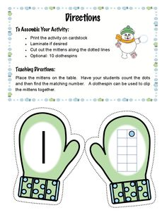 Free Mitten Match for early numeracy.  Free Mitten Match activity for addition, too!