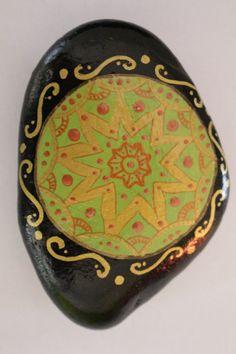 Hand-painted stone, mandala art