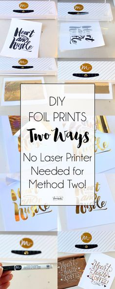 DIY Foil Prints Two Ways (No Laser Printer Needed for Method Two!) Disclaimer: I received the Minc for free over the holidays as a just because gift from Heidi Swapp and American Crafts. Wedding Planner Notebook, Diy Wedding Planner, Gold Diy, Gold Foil Print, Foil Prints, Tarjetas Diy, Deco Foil, Do It Yourself Jewelry, Scrapbooking
