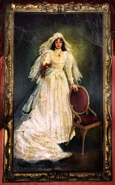"The bride appears throughout the Phantom Manor attraction, gradually aging as the Phantom pursues her, until she finally finds release in death at the ride's conclusion. This bride (commonly known as ""Melanie Ravenswood,"" according to hints left behind at the Manor) plays a large role in Phantom Manor."