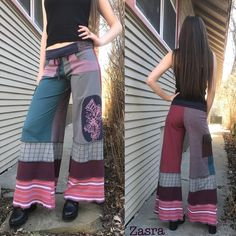 Ideas For Patchwork Pants Hippie Baby Patchwork Quilt, Patchwork Jeans, Patchwork Dress, Eco Clothing, Hippie Pants, Recycled Sweaters, Patchwork Designs, Yoga Fashion, Dress Picture