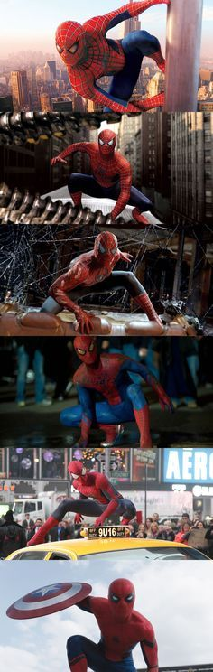All these poses with Tobey Maguire, Andrew Garfield and Tom Holland