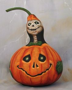 Happy Haunting, skull pumpkin gourd, hand painted, Halloween, 7 inches tall