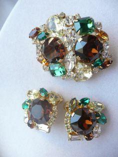 Amazing Vintage Hobe Fruit Salad Brooch Pin Earrings Rhinestones Signed Jewelry | eBay
