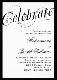 classy black and white retirement_party_invitations