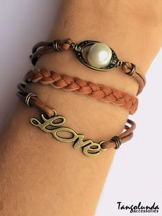 Brown Leather and Brass Love Bracelet by Tangolunda Gifts $9.50