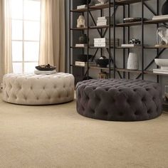Knightsbridge Round Linen Tufted Cocktail Ottoman with Casters