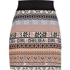 purple print chelsea girl knitted tube skirt - River Island, £20