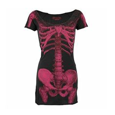 Skeleton Tunic Dress by Kreepsville 666 (Black/ Magenta) black and white would've been nice