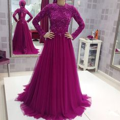 Custom Made Muslim Long Sleeves Evening Dresses Appliques Lace Purple Tulle A-line Formal Party Gowns Special Occasion Dress