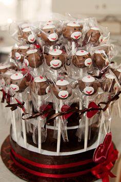 Sock monkey cake pops!  Pinned it from Bargain Hoots!