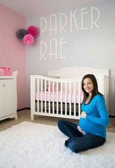 Pink and Grey nursery. I like the idea of painting the walls both pink and grey.