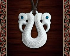 New Zealand Maori Bone Pekapeka / Manaia with Paua Shell