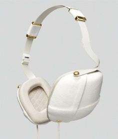 Headphones - Pleat Napa White & Gold - Molami