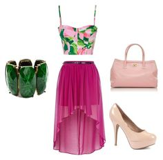 """Pink with Green"" by princesslexi10 ❤ liked on Polyvore featuring River Island, Chanel and Amrita Singh"