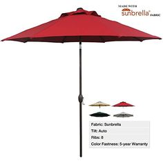 Abba Patio® 9 Ft Patio Umbrella Sunbrella Fabric Aluminum Market Umbrella with Auto Tilt and Crank, Alu. 8 Ribs, UV Resistant, Sun-Proof, Waterproof, Wind Resistance, Fade Resistance, Ideal Durable Outdoor Patio Table Umbrella for Personal and Commercial Use, Red Abba Patio® http://www.amazon.com/dp/B00ICFX3HW/ref=cm_sw_r_pi_dp_sbU.ub0ZZPRJW