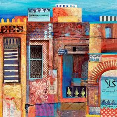 very detailed patchwork of moroccan buildings, mixed media Travel art Collages, Art And Illustration, Illustrations, Mixed Media Collage, Collage Art, Kitsch, Urbane Kunst, Moroccan Art, Travel Drawing