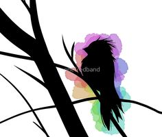 Bird Silhouette Colourful Water by onefredband