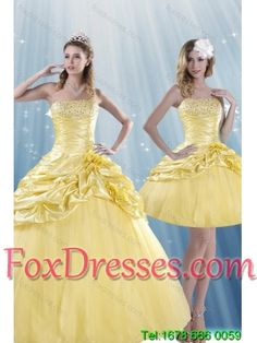 a4613f8c17d Fashionable and Detachable Strapless 2015 Beading Quince Dresses with  Beadings and Pick Ups Sweet 15 Dresses