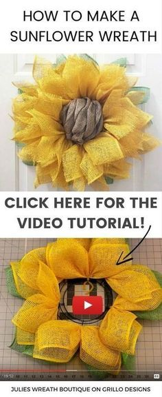 Learn how to make a sunflower wreath using poly burlap. Watch this in depth vide. : Learn how to make a sunflower wreath using poly burlap. Watch this in depth video tutorial on how to make a sunflower burlap wreath. Burlap Crafts, Wreath Crafts, Diy Wreath, Burlap Wreath Tutorial, Wreath Ideas, Diy Spring Wreath Burlap, Tulle Wreath, Wreath Making, Sunflower Burlap Wreaths